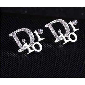 DCCKJ1A Dior Stylish Shiny Diamond Letter Simple Earrings