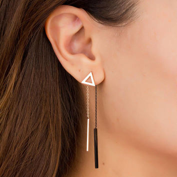 Double Sided Earring • Rose Gold Bar Earrings • Front Back Earrings • Triangle Dangle Earrings • Drop Earrings Rose Gold •  0092EM