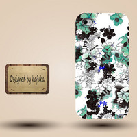 Iphone case, Iphone 4 case, Iphone 4s case, Iphone 5 case, unique handmade hard Plastic case, green   watercolour  floral     P838