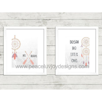 Girl's Printable, Tribal Arrow Duo, 8x10 instant download, peach, purple and mint, nursery art