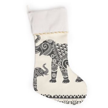 "Famenxt ""Ornate Indian Elephant-Boho"" Black Beige Christmas Stocking"