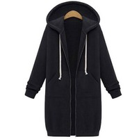 5XL Winter Coats 2017 Fashion Autumn Women Long Hoodies Sweatshirts Coat Casual Pockets Zipper Outerwear Hooded Jacket Plus Size