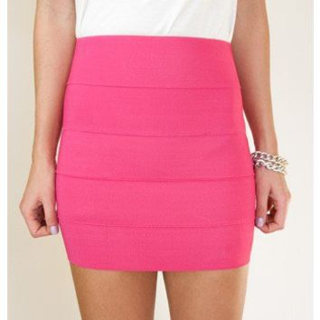 Pretty in Pink Bandage Skirt - Bottoms - Apparel | Sugar and Sequins