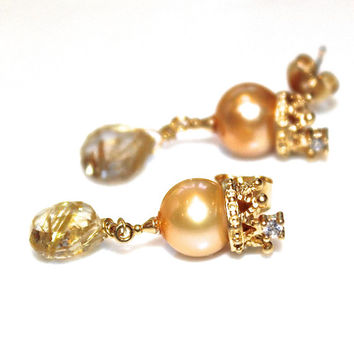 Pearl Crown Earrings Golden Rutilated Quartz Earrings Princess Earrings Golden Pearl Earrings Summer Jewelry Crown Jewelry Summer Style