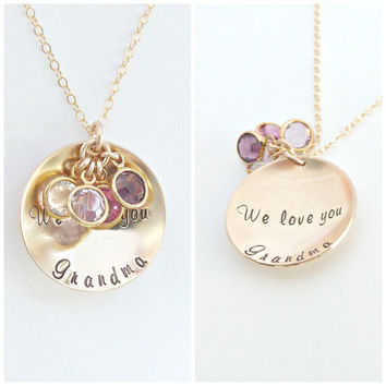 Grandma Necklace Personalized Necklace Nana Gift Meemaw Gift Mom Gift Gold Disc Necklace Personalized Jewelry