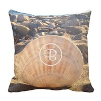 California sand and seashell photo custom monogram throw pillow