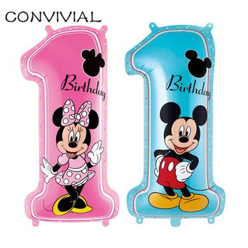 1st Mickey Minnie Mouse Foil Balloon Happy Birthday Party Kids Mylar Balloon Baby Shower Globos Party Decoration CONVIVIAL PA39