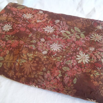 Sheer Crinkled Brown Fabric with Floral Design