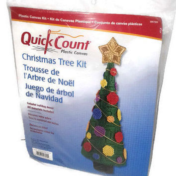 Uniek Quick Count Plastic Canvas Christmas Tree Kit Holiday Decor Ornament Christmas Decorations