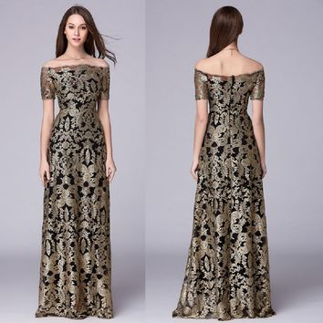 B0031 New Off shoulder Floor-length Evening Prom Formal gold embroidery ball wedding A-line maxi long women dress gown