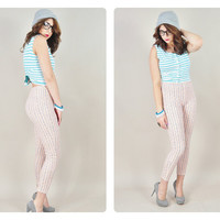 1980s peach & navy pastel floral stripe ultra HIGH WAIST skinny tight stretch leggings VINTAGE