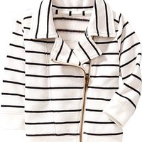 Striped Fleece Moto Jackets for Baby