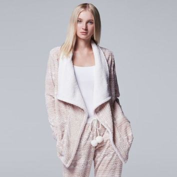 DCCKX8J Women's Simply Vera Vera Wang Pajamas: Plush Party Fleece Long Sleeve Wrap