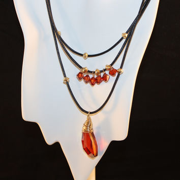 Red Magma Swarovski Pendant and Crystals on Black Leather Necklace