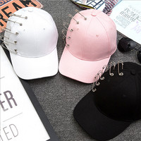Fashion Unisex Solid Ring Safety Pin Curved Hats Baseball Cap Men Women Snapback Caps Sport Casquette Gorras