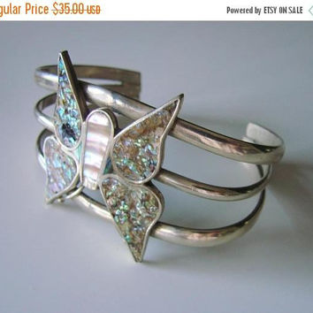 SALE Vintage Mexico Silver Abalone MOP Inlay Butterfly Cuff Bracelet / Jewelry / Jewellery