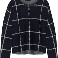 Maje - Mademoise checked wool-blend sweater