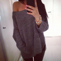 Fashion Off Shoulder Pockets Knit Loose Top Sweater Pullover