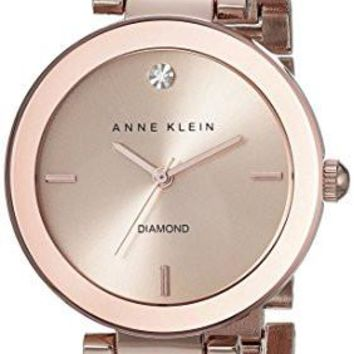 Anne Klein Women's Watch AK/1362RGRG Rose Gold-Tone Diamond-Accented Bracelet Watch