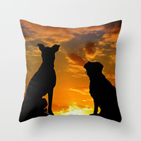 TWO DOGS AT SUNSET Throw Pillow by digitaleffects