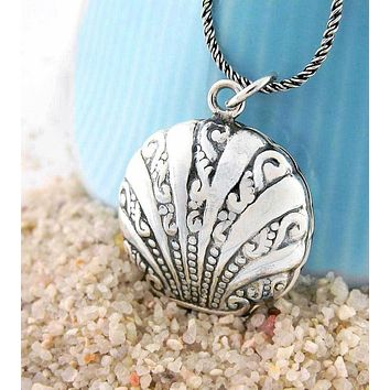 Ornate Two-Sided Scallop Shell Locket Necklace