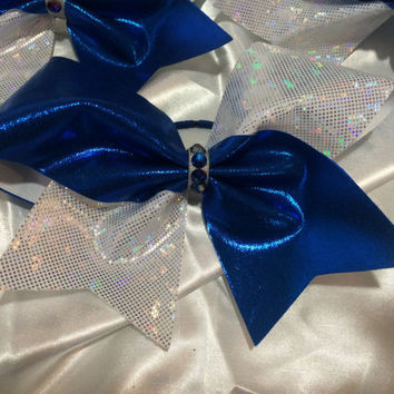 Metallic Blue Mystique and White Silver Hologram 3 Inch Cheer Bow with Meridian Blue Swarovski Crystal Bow