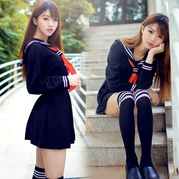 Japanese sailor suit Anime costume Girls High school student uniform ,Long-sleeve JK uniform sexy clothing navy color
