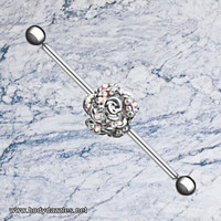 Gleaming Rose Industrial Barbell 14ga Scaffold Piercing Barbell 316L Surgical Stainless Steel