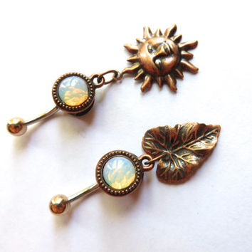 White Glass Opal Copper Sun Or Leaf Belly Button Ring Charm Dangle Jewelry Navel Piercing Long Charm Bellyring Bar