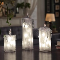 Star Frosted Candle Set
