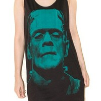 Frankenstein Green Charcoal Black Horror Movie Rock Tank Top Size M