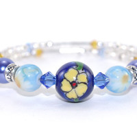 Blue yellow ceramic flower bead memory wire bracelet Light blue yellow Swarovski crystal Glass pearl bead Silver plated Wrap coil braclet