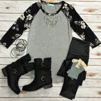 Floral Baseball Tee: Grey/ Black