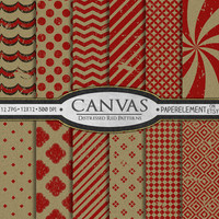 Distress Red Canvas Digital Scrapbook Paper Grunge Backgrounds for Wedding, Anniversary, Graduation - Instant Download