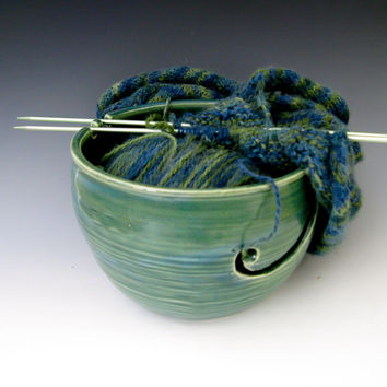 Pottery Yarn Bowl, Knitting Bowl, Knitter's Bowl, Crochet Bowl, Green Yarn Bowl
