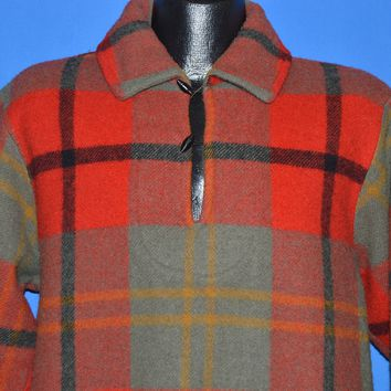 50s Woolrich Plaid Pull Over Wool Winter Jacket Large