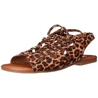 Steve Madden Girls Jgilley Animal Print Faux Suede Fisherman Sandals