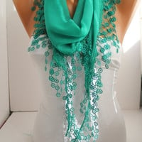 Green Cotton Scarf- Shawl Headband -Cowl with Lace Edge
