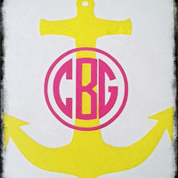 4 inch Two Color Circle Monogram Anchor Decal