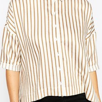 ASOS Oversized Shirt in Camel and Cream Stripe