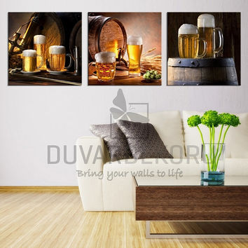 Canvas Print Ready to Hang 3  Panels - Best Quality Print for Great Home Decorations -Beers