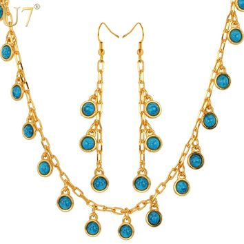 U7 Long Earrings Necklace Set  Trendy Gold Color Blue Stone Plant Shape Fashion Jewelry Set For Women S570