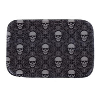 Black Skull 40 x 60cm Holiday Welcome Mat Outdoor Indoor Festive Halloween Decor Doormat Happy Gifts Good Coral Fleece