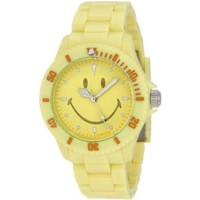 "Smiley ""Happy Time"" Women's WGS-PPYV01 Pretty Pastel Yellow Analogue Watch - designer shoes, handbags, jewelry, watches, and fashion accessories 