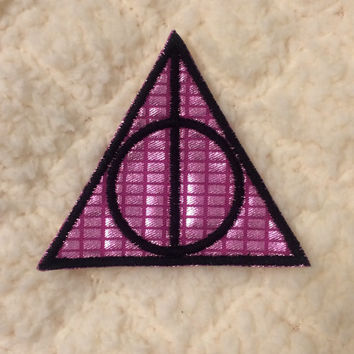 Pink Metallic Deathly Hallows Harry Potter Fandom Small Iron-On Embroidered Patch Badge ~ Pastel Kawaii Femme Tumblr Geeky Nerdy DIY Punk