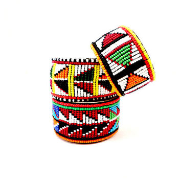 Maasai Beaded Cuff, made in Kenya, African, Fair Trade, Bracelet, Colorful, Tribal, Jewelry, Unisex Gift for Men, Gift for Women