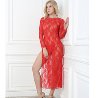 Hot Deal Cute On Sale Sexy Long Sleeve Lace Plus Size Prom Dress Split Exotic Lingerie [6595580099]