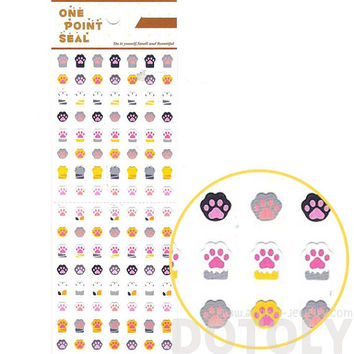 Kitty Cat Paw Print Shaped Sticker Envelope Seal | Cute Animal Inspired Scrapbook Decorating Supplies