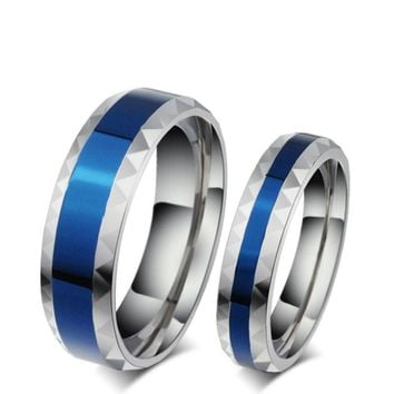 Stainless Steel Thin Blue Line Rings For Men(6mm) & Women(4mm)
