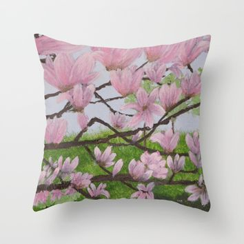 A Magnolia Tree Throw Pillow by Lindsay